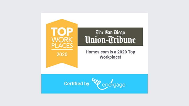Homes.com Honored as a 2020 'Top Workplace' in Annual San Diego Awards